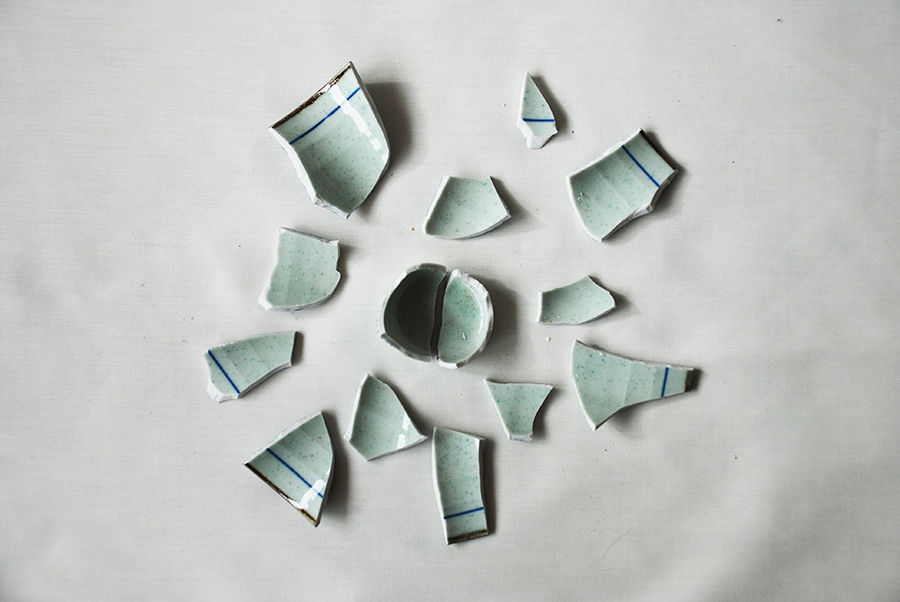 Smashed cup in circles