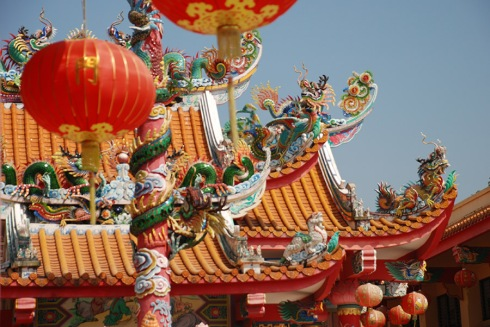 Chinese temple lanterns by Claire Rosslyn Wilson