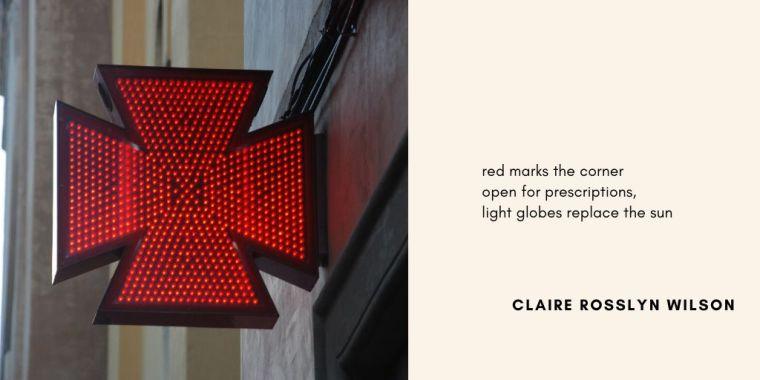 Residence haiku-Pharmacy-Claire Rosslyn Wilson